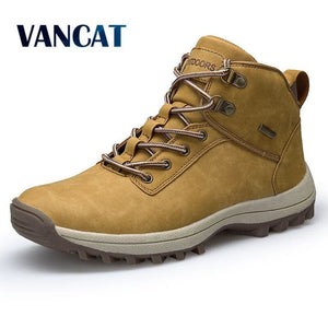 Vancat Brand Men Boots Big Size 39-46 Autumn Winter Mens Leather Fashion Sneakers Lace Up Outdoor