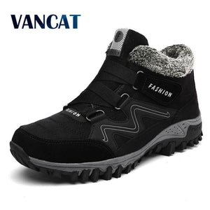 VANCAT Men Boots Winter With Fur 2018 Warm Snow Boots Men Winter Boots Work Shoes Men Footwear - MBMCITY