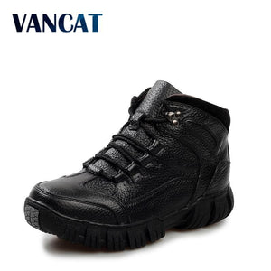 VANCAT Super Warm  Winter Men Boots Genuine Leather Boots Men Winter Shoes Men Military Fur Boots - MBMCITY