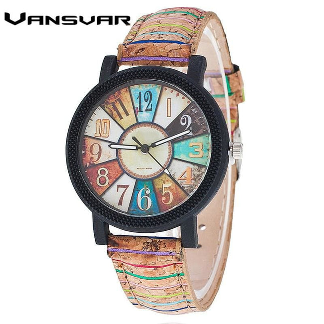 Vansvar Brand Fashion Casual Relogio Feminino Vintage Leather Women Quartz Wrist Watch Gift Clock - MBMCITY