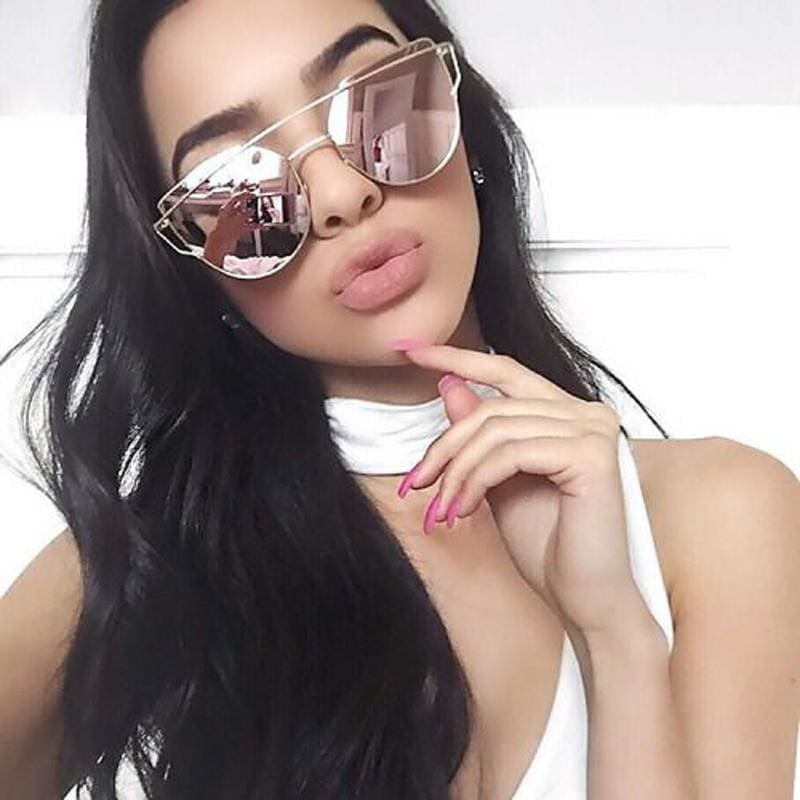 VCKA Cat Eye Sunglasses Women Brand Vintage Fashion Rose Gold Mirror Sun Glasses Unique Flat Ladies