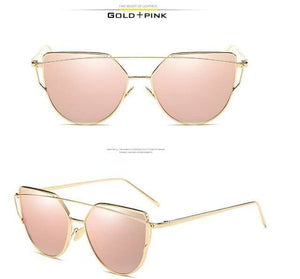 VCKA Cat Eye Sunglasses Women Brand Vintage Fashion Rose Gold Mirror Sun Glasses Unique Flat Ladies - MBMCITY