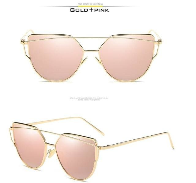 VCKA Cat Eye Sunglasses Women Brand Vintage Fashion Rose Gold Mirror Sun Glasses Unique Flat Ladies C5 / mix