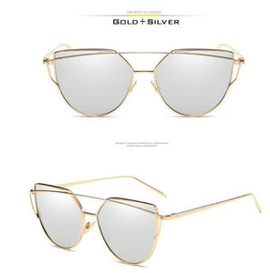 VCKA Cat Eye Sunglasses Women Brand Vintage Fashion Rose Gold Mirror Sun Glasses Unique Flat Ladies C9 / mix
