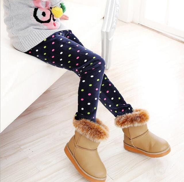 VEENIBEAR Newest Winter Girl Leggings Velvet Thicken Warm Star Print Girl Pants Kids Children Pants - MBMCITY