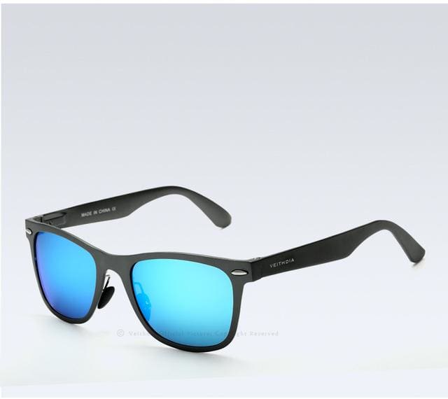 Veithdia Brand Unisex Aluminum Square Mens Polarized Mirror Sun Glasses Female Eyewears Accessories Gray Blue / China