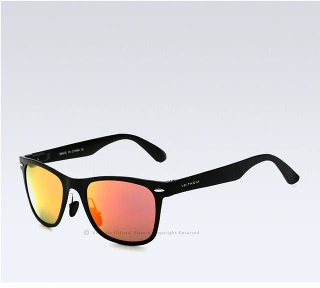 Veithdia Brand Unisex Aluminum Square Mens Polarized Mirror Sun Glasses Female Eyewears Accessories Black Red / China