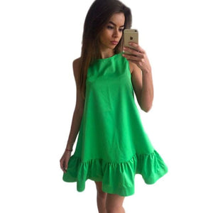 Vestidos Sexy Ruffles Women Dress Summer Sleeveless Casual A Line Bodycon Dresses Party Cocktail