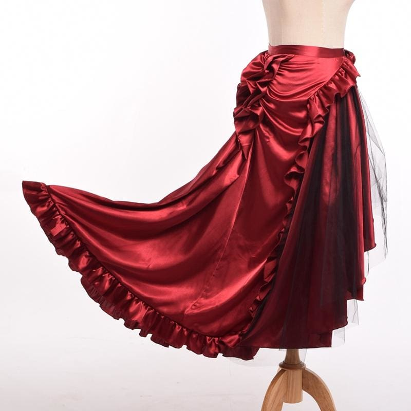Victorian Steampunk Red Flounce Bustle Skirt Women Retro Gothic Ruffle Reenactment Punk Costume