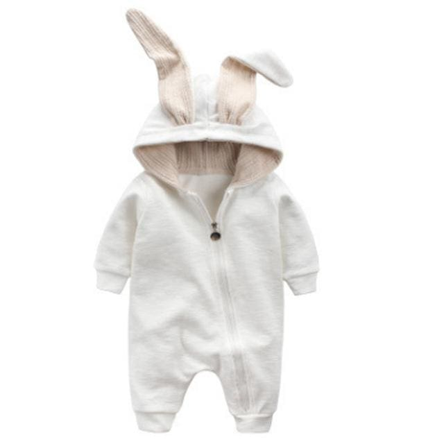 VIMIKID Newborn Baby Girls Boys Clothing Romper Cotton Long Sleeve Jumpsuit Playsuit Bunny Outfits White / 18M