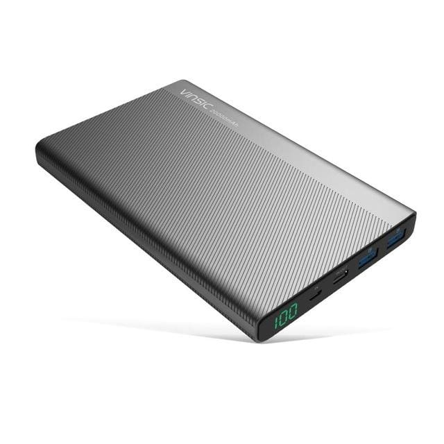 Vinsic 5V/3A 20000mAh Type-C Fast Charge Power Bank Dual Smart USB & Type-C Outputs External Battery