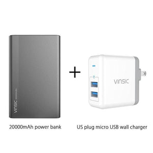 Vinsic 5V/3A 20000Mah Type-C Fast Charge Power Bank Dual Smart Usb & Type-C Outputs External Battery China / Add Us Charger