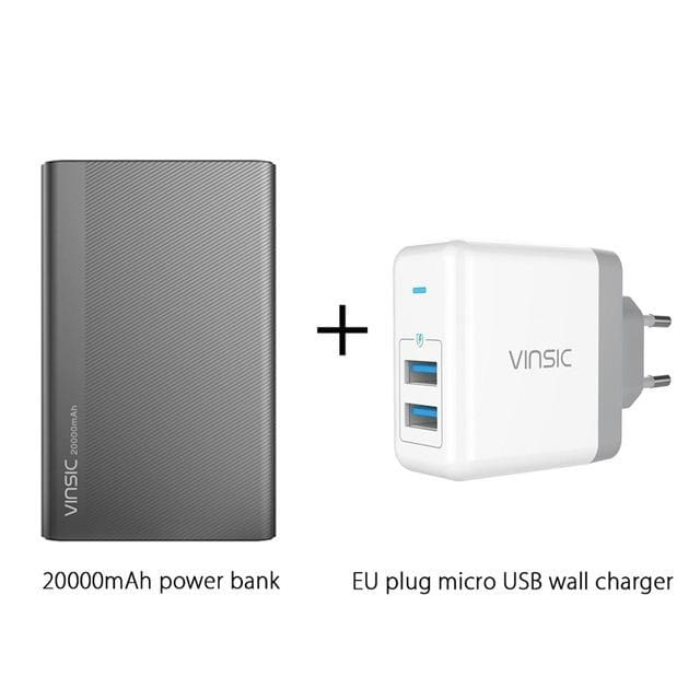 Vinsic 5V/3A 20000Mah Type-C Fast Charge Power Bank Dual Smart Usb & Type-C Outputs External Battery China / Add Eu Charger