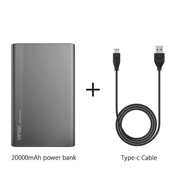 Vinsic 5V/3A 20000Mah Type-C Fast Charge Power Bank Dual Smart Usb & Type-C Outputs External Battery China / Add Type C Cable