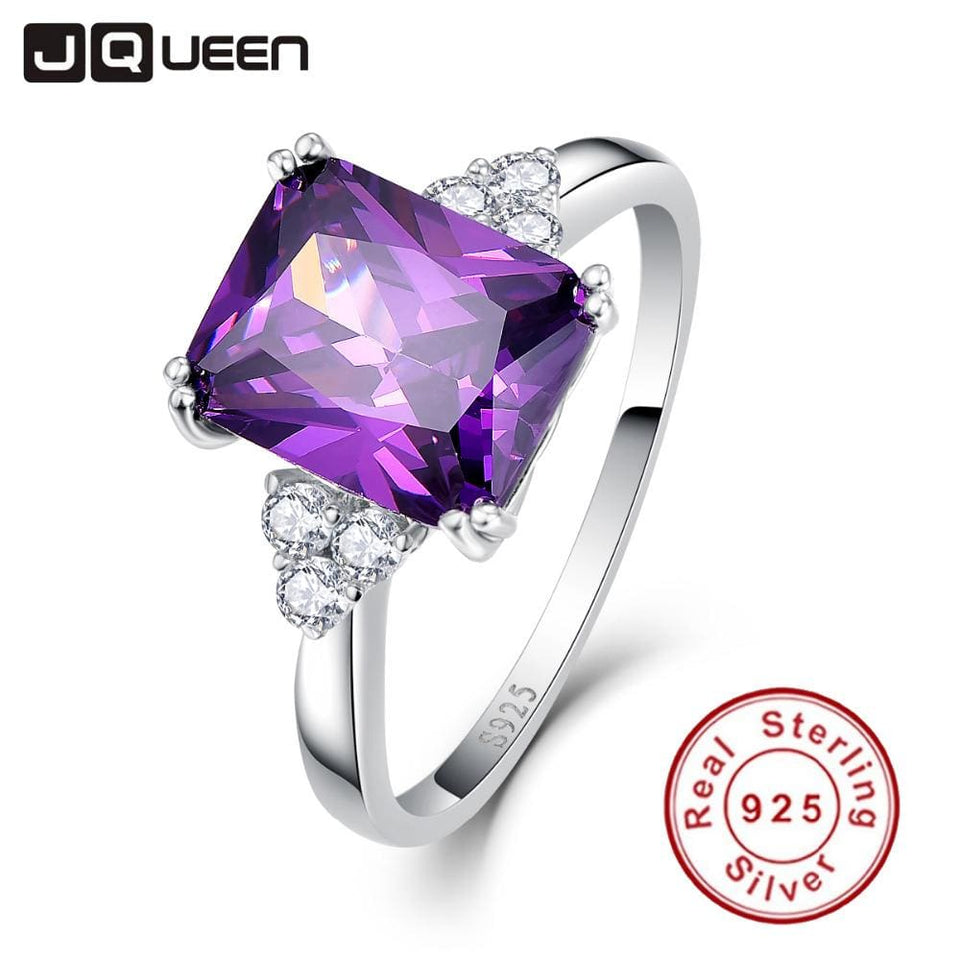Vintage Jewelry 5.25Ct Amethyst 925 Sterling Silver Ring Emerald Cut Purple Nature Stone Women