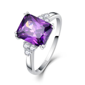 Vintage Jewelry 5.25Ct Amethyst 925 Sterling Silver Ring Emerald Cut Purple Nature Stone Women 6 / Purple