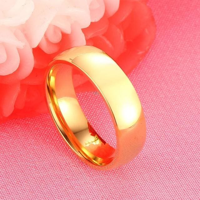 Vnox Gold-Color Wedding Bands Ring For Women Men Jewelry 6Mm Stainless Steel Engagement Ring Us Size 5 / 1 Piece For Men