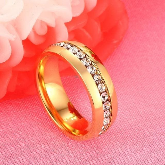 Vnox Gold-color Wedding Bands Ring for Women Men Jewelry 6mm Stainless Steel Engagement Ring US Size 5 / 1 piece for women
