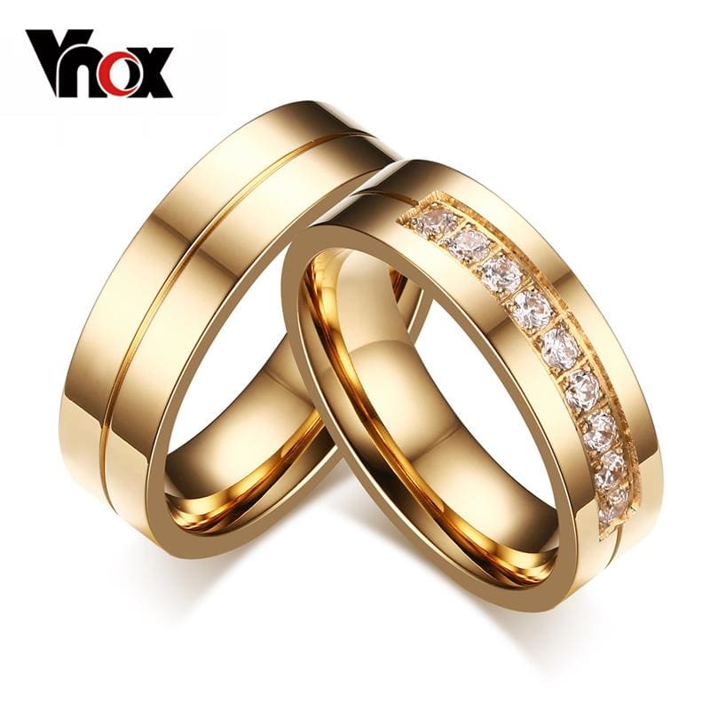 Vnox Trendy Wedding Bands Rings for Women / Men Love Gold-color Stainless Steel CZ Promise Jewelry