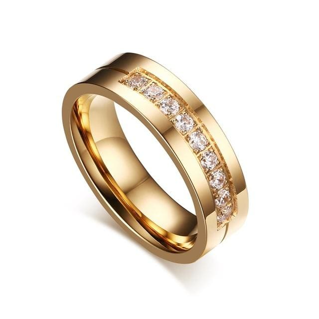 Vnox Trendy Wedding Bands Rings for Women / Men Love Gold-color Stainless Steel CZ Promise Jewelry 10 / 1 piece for women