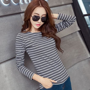 Volocean 2017 Striped Cotton Female T-Shirt Casual Autumn Winter T-Shirts For Women Classic T Shirt 14 / S