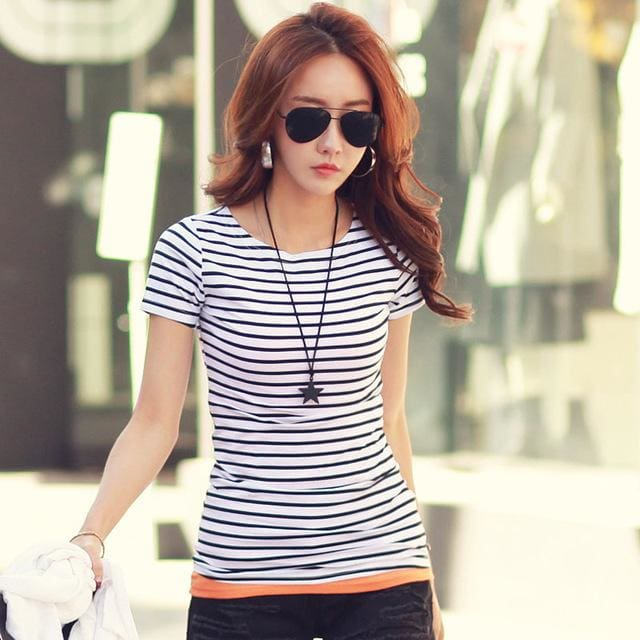 Volocean 2017 Striped Cotton Female T-Shirt Casual Autumn Winter T-Shirts For Women Classic T Shirt 01 / S