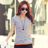Volocean Striped Cotton Female T-shirt Casual Autumn Winter T-shirts For Women Classic T Shirt - MBMCITY