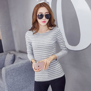 Volocean 2017 Striped Cotton Female T-Shirt Casual Autumn Winter T-Shirts For Women Classic T Shirt 11 / S