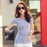 Volocean 2017 Striped Cotton Female T-Shirt Casual Autumn Winter T-Shirts For Women Classic T Shirt 06 / S