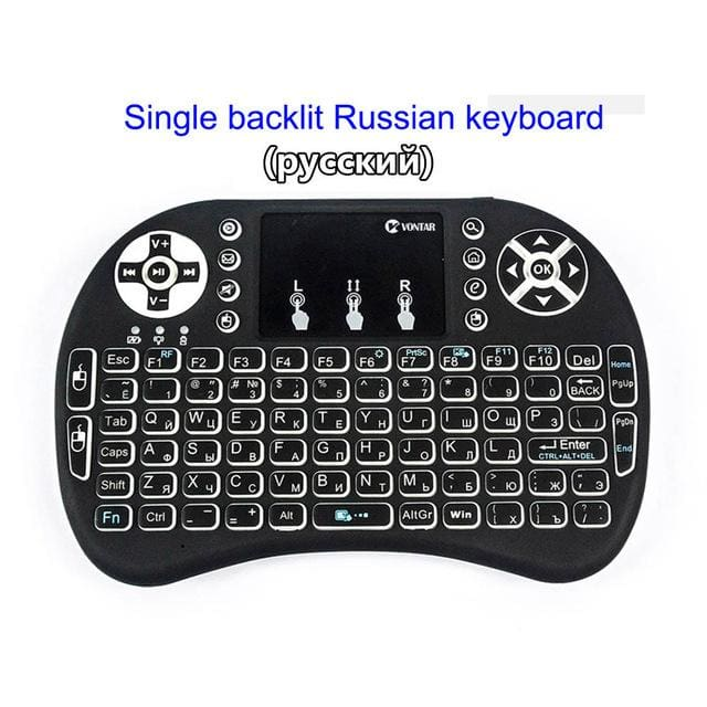 VONTAR Backlight i8 English Russian Spanish 2.4GHz Wireless Keyboard Air Mouse Touchpad Backlit for
