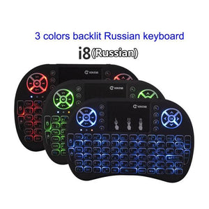 VONTAR Backlight i8 English Russian Spanish 2.4GHz Wireless Keyboard Air Mouse Touchpad Backlit for - MBMCITY