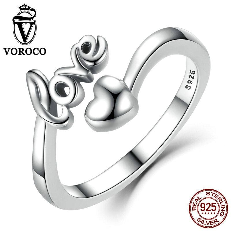 Voroco Real 100% 925 Sterling Silver Love And Heart Minimalist Simple Open Adjustable Ring Women &