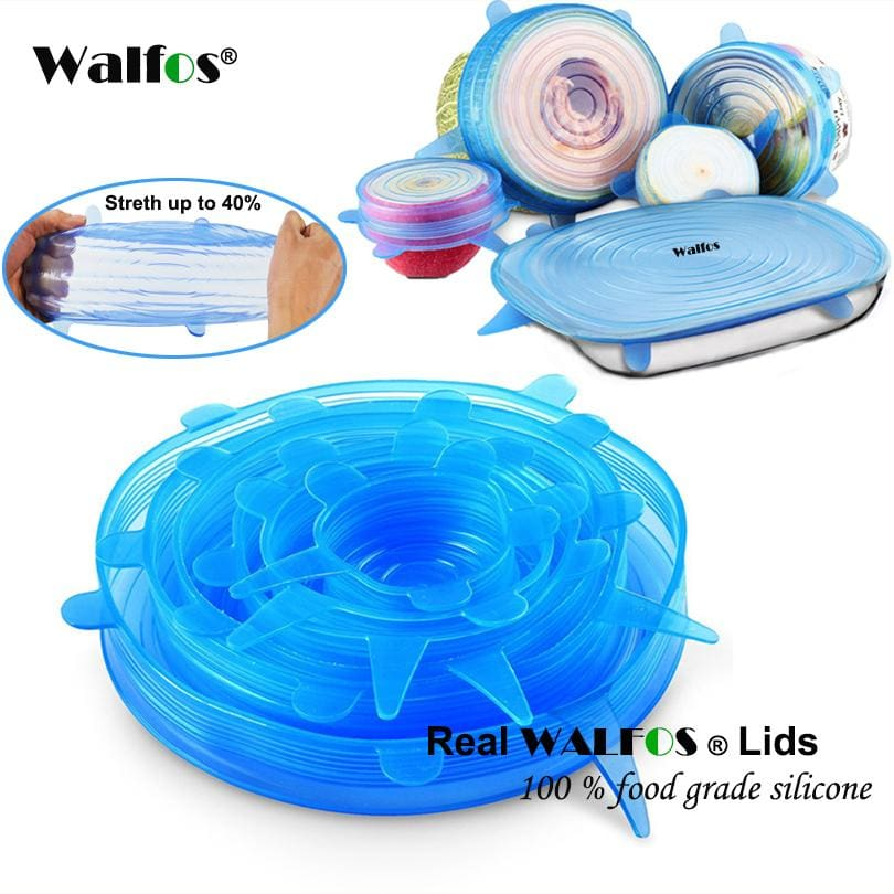 WALFOS 100% Food Grade REAL silicon stretch lids universal lid Silicone saran food wrap-bowl pot - MBMCITY