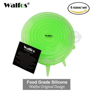 WALFOS 100% Food Grade REAL silicon stretch lids universal lid Silicone saran food wrap-bowl pot