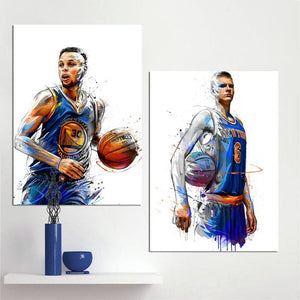 Wall Art Canvas Painting Stephen Curry Kristaps Porzingis Dunks Basketball Star Prints Poster Sports