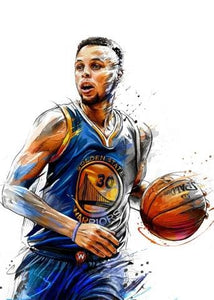 Wall Art Canvas Painting Stephen Curry Kristaps Porzingis Dunks Basketball Star Prints Poster Sports 30X42Cm Frameless / Picture 3