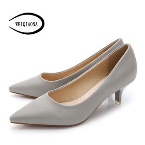 WEIQIAONA 34-43 Woman Shoes Genuine Leather inside Low Heels Women Pumps Stiletto Women's Work shoe