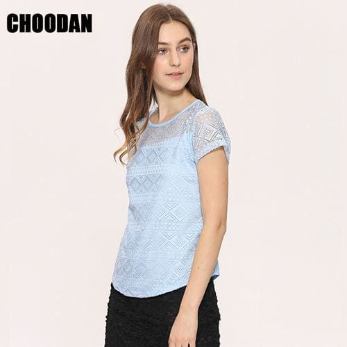 White Blouse Lace Chiffon Short Sleeve Summer Women Tops 2017 New Fashion Korean Hollow Out Ladies - MBMCITY