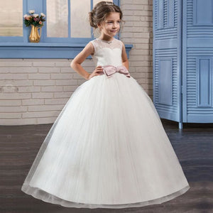 White Flower Girl Dress Kid Girls First Communion Dresses Tulle Lace Wedding Long Princess Costume