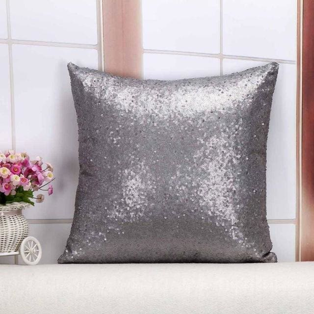 Wholesale Cushion Cover Glitter Sequin Throw Pillow Cases Cafe Cushion Covers Car Seat Capa Poszewki 400Mm*400Mm / Grey