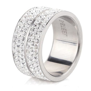 Wholesale High Quality Classic Stainless Steel 6 Row Crystal Jewelry Wedding Ring - MBMCITY