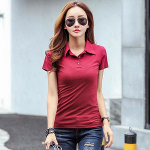Winter Autumn Casual Polo Women 2017 New Long Sleeve Slim Polos Mujer Black White Red Women Tops For Wine Red 2 / S