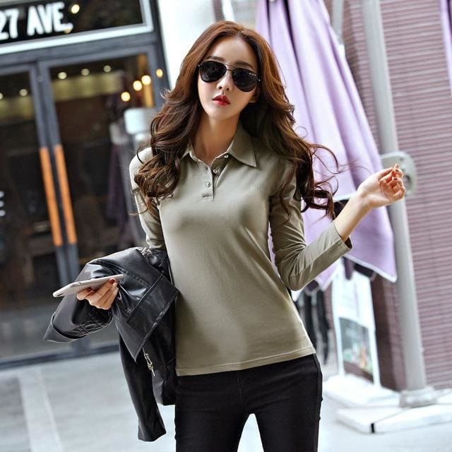 Winter Autumn Casual Polo Women 2017 New Long Sleeve Slim Polos Mujer Black White Red Women Tops For Khaki 1 / S