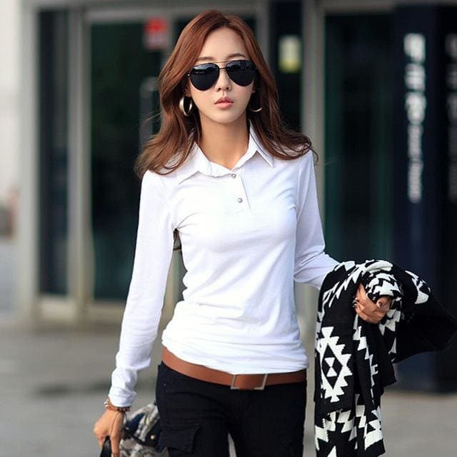 Winter Autumn Casual Polo Women 2017 New Long Sleeve Slim Polos Mujer Black White Red Women Tops For White 1 / S