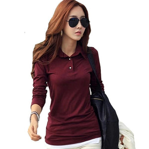 Winter Autumn Casual Polo Women New Long Sleeve Slim Polos Mujer Black White Red Women Tops For