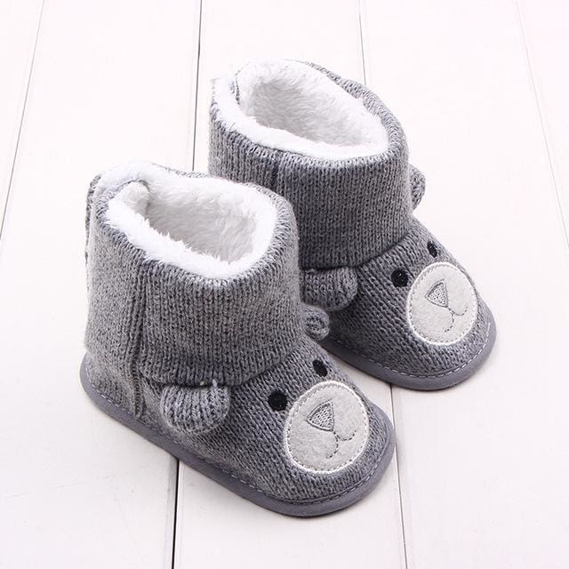 Winter Baby Snow Boots Warm Toddler shoes Baby Girl Shoes Knitted Cartoon Bear first walker Infant - MBMCITY