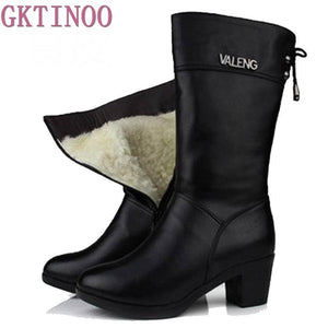 Winter Boots Wool Fur Inside Warm Shoes Women High Heels Genuine Leather Shoes Handmade Snow Boots