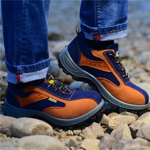 Winter Men Work Safety Shoes Steel Toe Warm Breathable Mens Casual Boots Puncture Proof Labor Orange / 4
