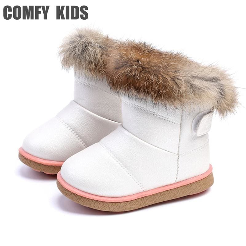 Winter Warm Plush Baby Girls Snow Boots Shoes Pu Leather Flat With Baby Toddler Shoes Outdoor Snow