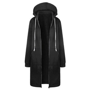 Winter Women Long Sleeve Hoodie Coat Casual Pockets Zipper Outerwear Hooded Jacket Fashion Solid a / S